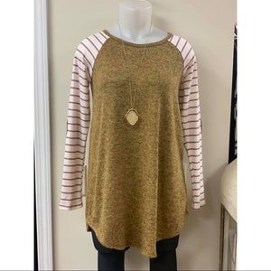 Tunic Top with Striped sleeves